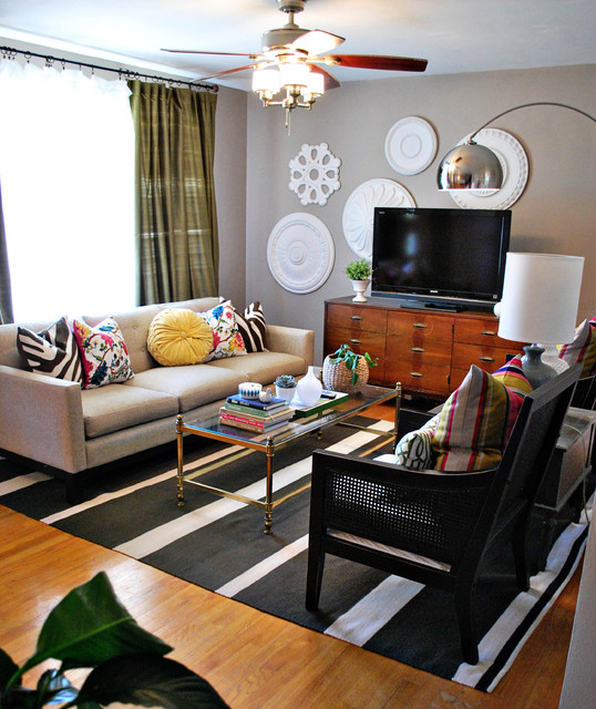 Greige Paint Living Room Eclectic with Arc Lamp Arco Lamp1