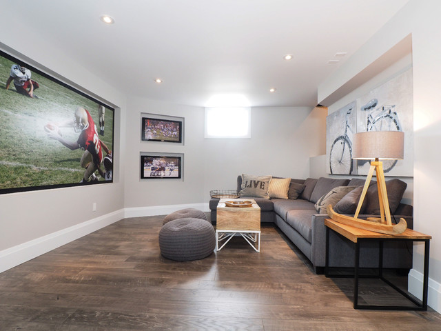 Grey Laminate Flooring Basement Transitional with Bicycle Art Gray Poufs
