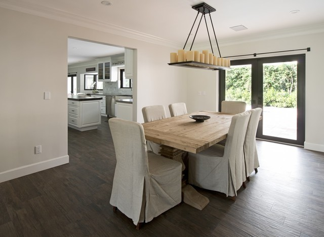 Grey Laminate Flooring Dining Room Traditional with Butcher Block Island Farmhouse