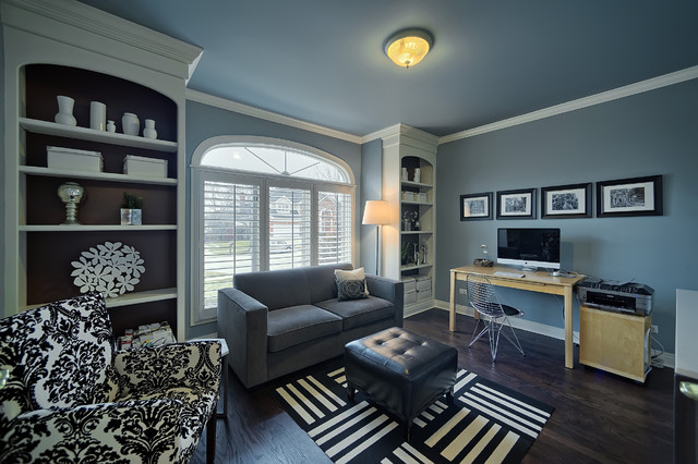 Grey Loveseat Home Office Contemporary with Arched Window Black And