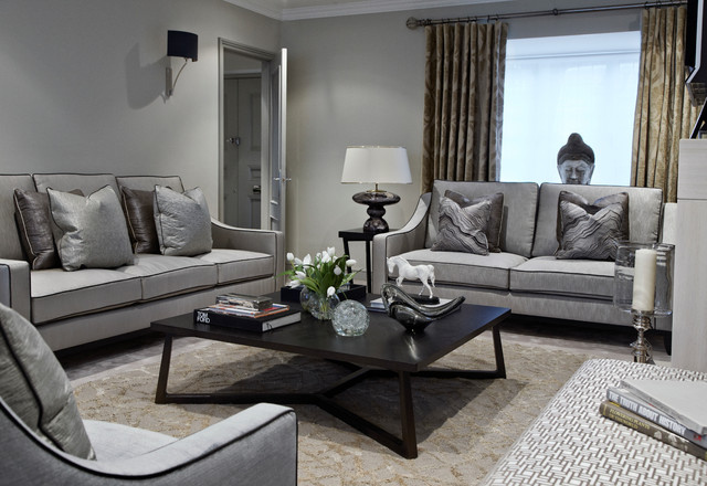 grey loveseat Living Room Contemporary with armchair black black coffee