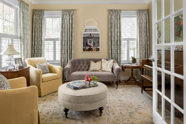 Grey Loveseat Living Room Traditional with Bone Mirror Crystal Lamp2