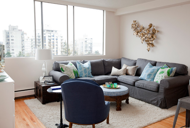 Grey Sectional Sofas Living Room Eclectic with Blue and Green Branch