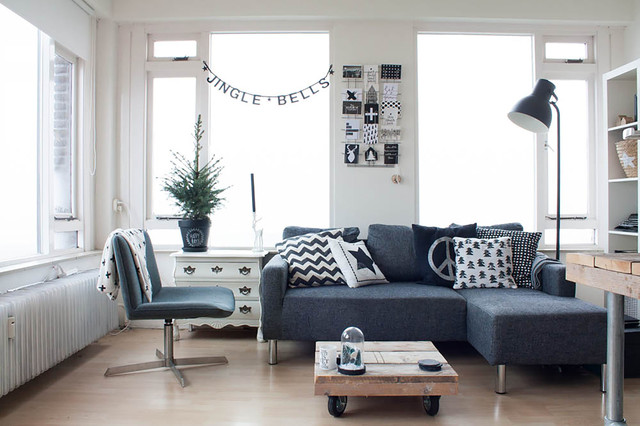grey sectional sofas Living Room Scandinavian with black and white black