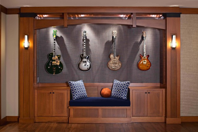 Guitar Wall Hanger Family Room Contemporary with Arch Beige Wall Built In