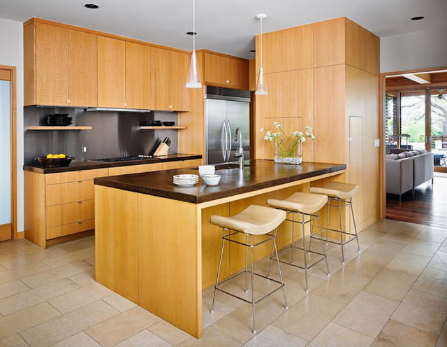 Haas Cabinets Kitchen Asian with Barstools Ceiling Lighting Floral