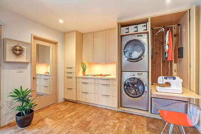Haas Cabinets Laundry Room Contemporary with Bamboo Cabinets Clean Lines