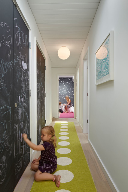 Hallway Runners Kids Midcentury with Artwork Ceiling Light Chalkboard