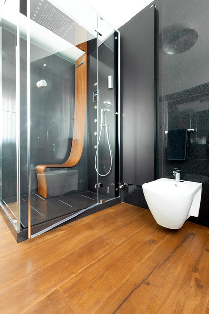 Hand Held Bidet Bathroom Contemporary with Antique Oak Bent Wood