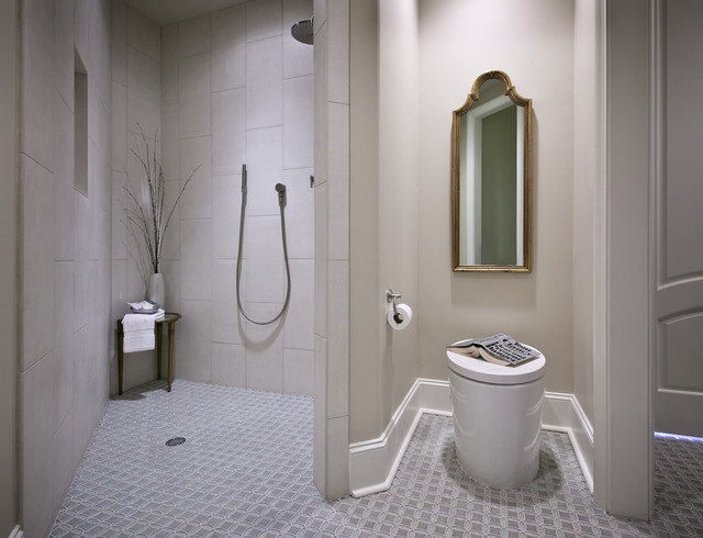 Handicap Showers Bathroom Contemporary with Baseboards Bathroom Mirror Floor