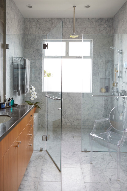 Handicap Showers Bathroom Contemporary with Ceiling Mount Shower Head