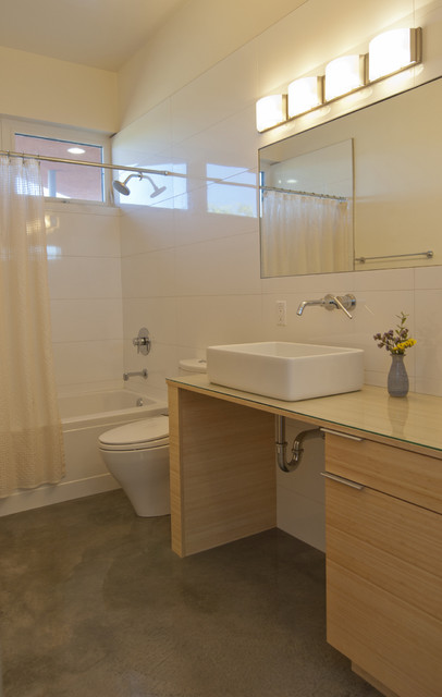 Handicap Showers Bathroom Modern with Bamboo Concrete Floor Mirror