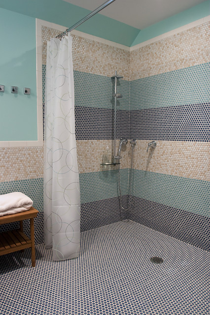 Handicap Showers Bathroom Modern with Glass Tiles Horizontal Stripes