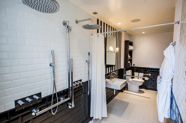 Handicap Showers Bathroom Victorian with Black and White Black