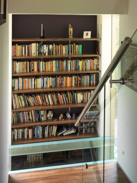 Handrail Brackets Staircase Contemporary with Accent Wall Banister Bookcase