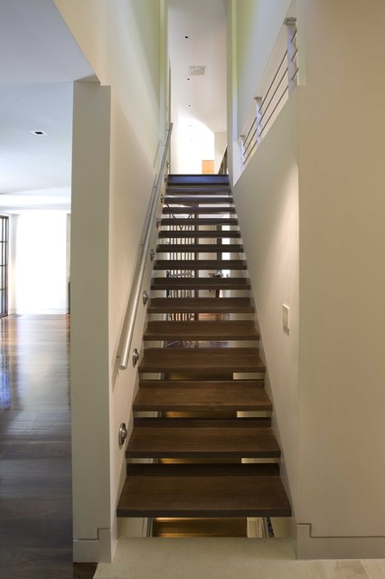 handrails for stairs Staircase Modern with baseboards dark floor guardrail