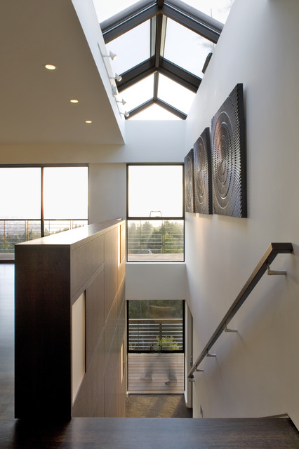 Handrails for Stairs Staircase Modern with Ceiling Lighting Dark Floor
