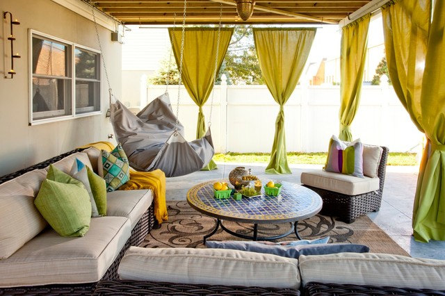 Hanging Curtain Rods Patio Eclectic with Backyard Bar Bean Bag