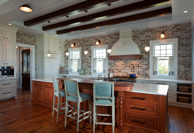 Hanson Brick Kitchen Beach with Cafe Curtains Exposed Beams