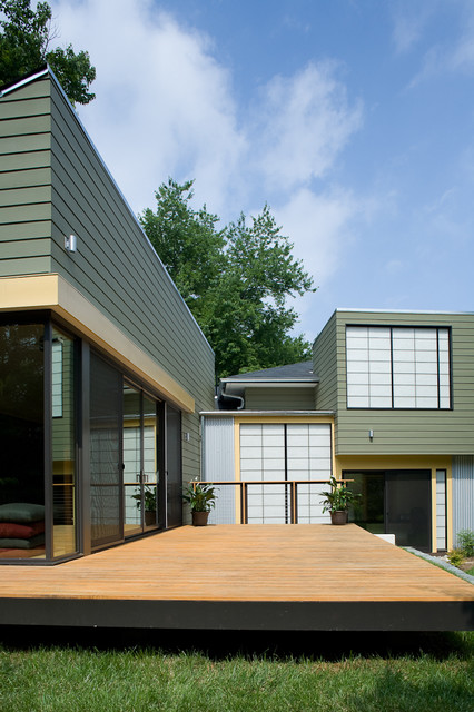 Hardi Plank Exterior Contemporary with Container Plants Corner Windows