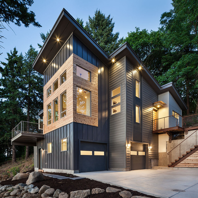 Hardie Plank Exterior Contemporary with Accent Lighting Awning Bridge