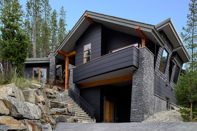 Hardie Plank Exterior Contemporary with Balcony Boulders Exposed Beams