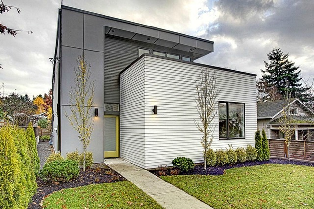 Hardie Plank Exterior Contemporary with Cement Panels Concrete Path
