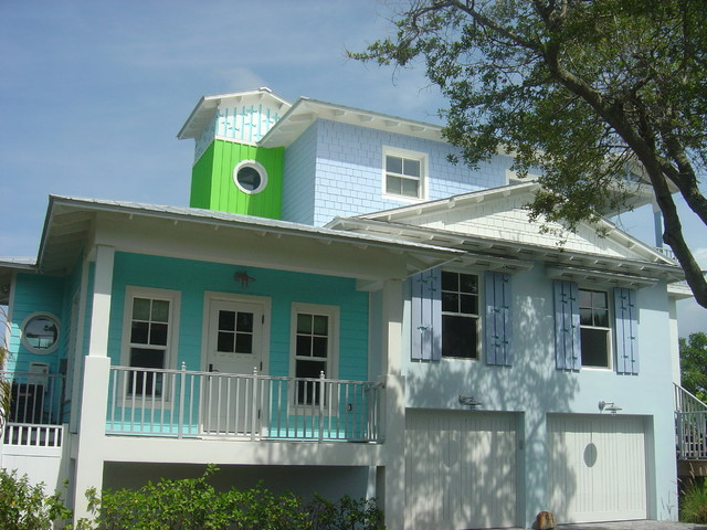 Hardie Plank Siding Exterior Tropical with Colorful Eaves Exposed Truss