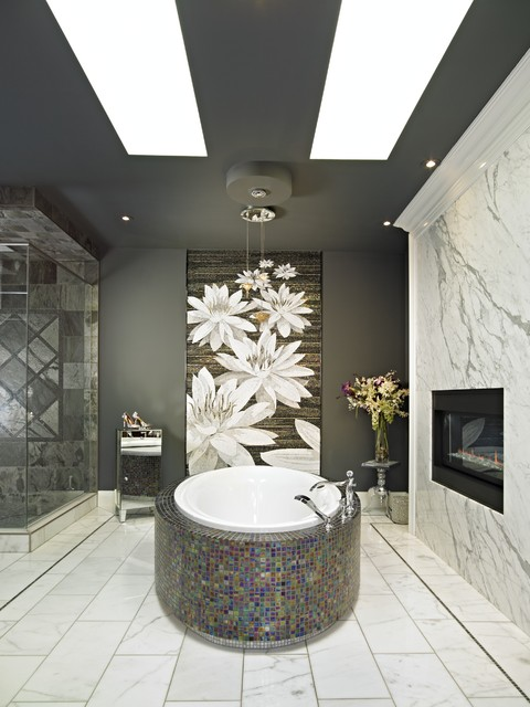 Heat and Glo Bathroom Contemporary with Bathroom Fireplace Bathroom Tile