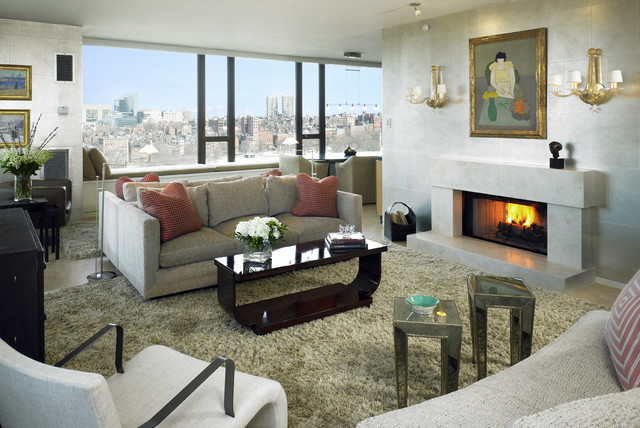 Heat and Glo Living Room Transitional with City View Fireplace Mirrored