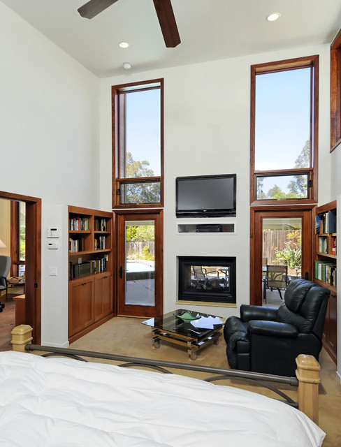 Heat and Glo Fireplace Bedroom Contemporary with Bookcase Bookshelves Built In