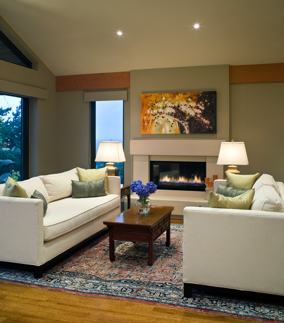 Heat and Glo Fireplace Living Room Contemporary with Beige Ceiling Beige Fireplace
