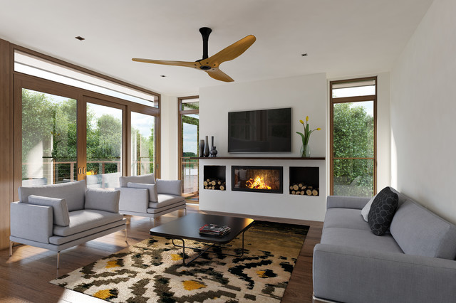 Heat and Glo Fireplace Living Room Contemporary with Black White and Yellow