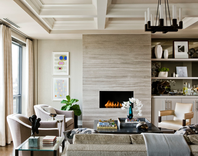 Heat and Glo Fireplace Living Room Transitional with Ann Sacks Art Boyd
