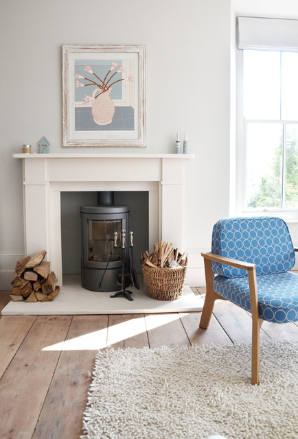 Heat and Glo Fireplace Living Room Transitional with Beach Home Blue Chair