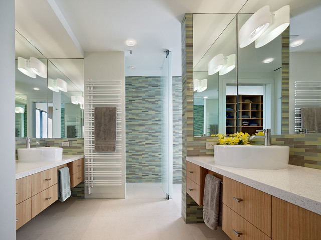 Heated Towel Rack Bathroom Contemporary with Above Counter Sink Flat