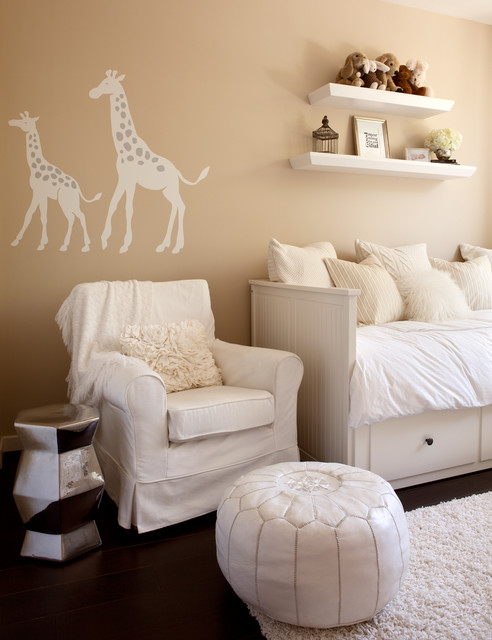 Hemnes Daybed Nursery Contemporary with Animal Decals Beige Walls