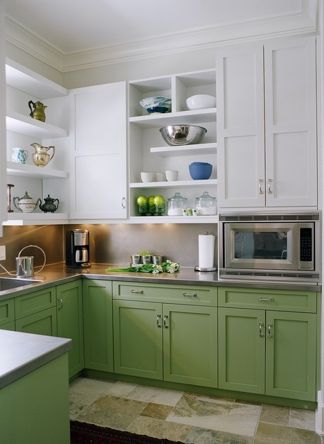 Hermitage Lighting Kitchen Transitional with Green and White Cabinets