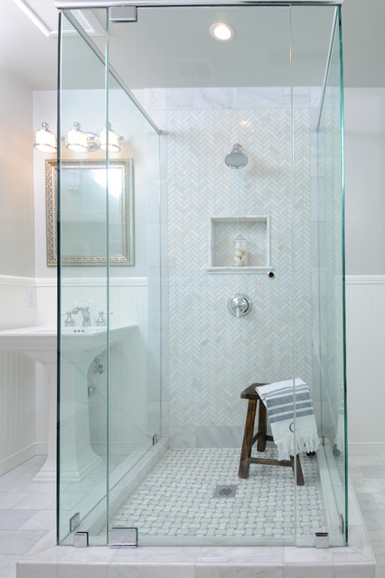 Herringbone Tile Pattern Bathroom Traditional with Framed Mirror Glass Shower