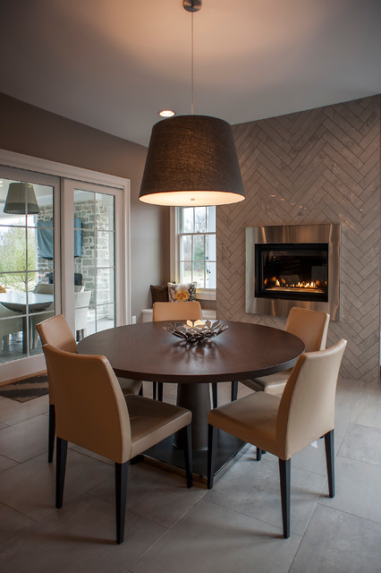 Herringbone Tile Pattern Dining Room Contemporary with Accent Wall Breakfast Room