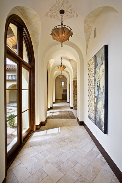 Herringbone Tile Pattern Hall Mediterranean with Arched Doorway Artwork Atrium