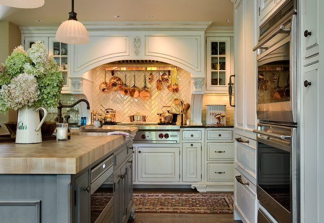 Herringbone Tile Pattern Kitchen Traditional with Antique Decor Backsplash Tile