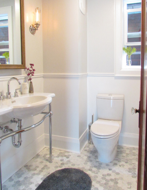 Hexagon Tile Bathroom Beach with Baseboard Chair Rail Gray