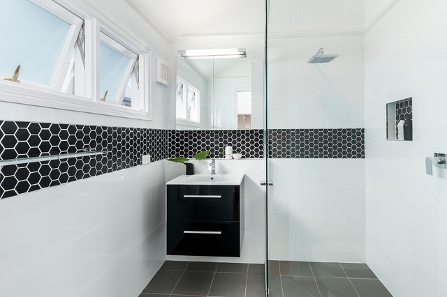 Hexagon Tile Bathroom Contemporary with Black and White Bathroom