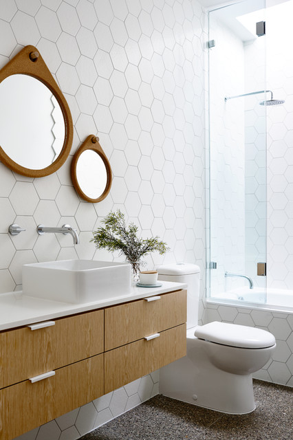 Hexagon Tile Bathroom Contemporary with Floating Vanity Geometric Round