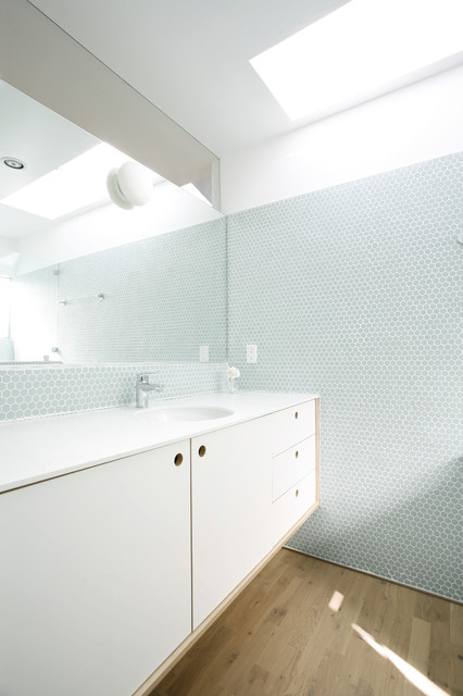 Hexagon Tile Bathroom Scandinavian with Blue Tile Wall Light