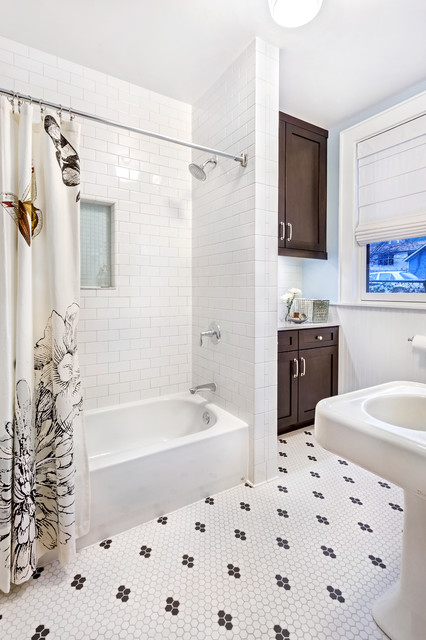 Hexagon Tile Bathroom Transitional with Beadboard Black and White1