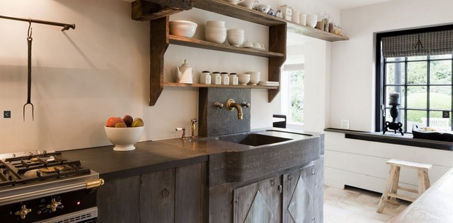 Hexagon Tile Kitchen Transitional with Antique Antique Jerusalem Stone