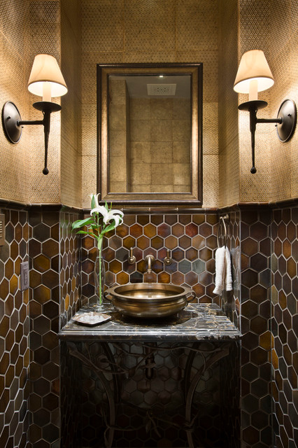Hexagon Tile Powder Room Rustic with Above Counter Sink Bathroom