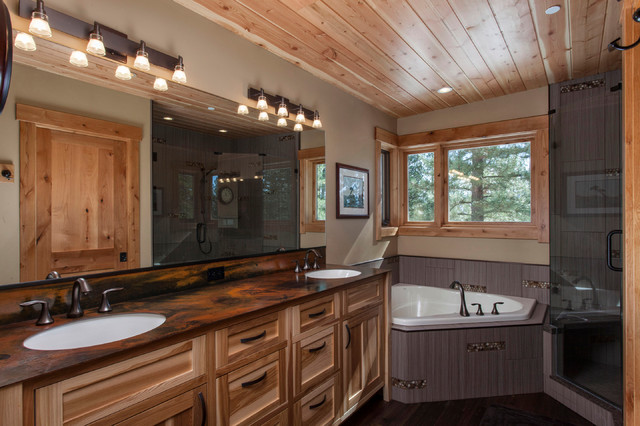 Hickory Cabinets Bathroom Contemporary with Bathroom Light Beige Wall